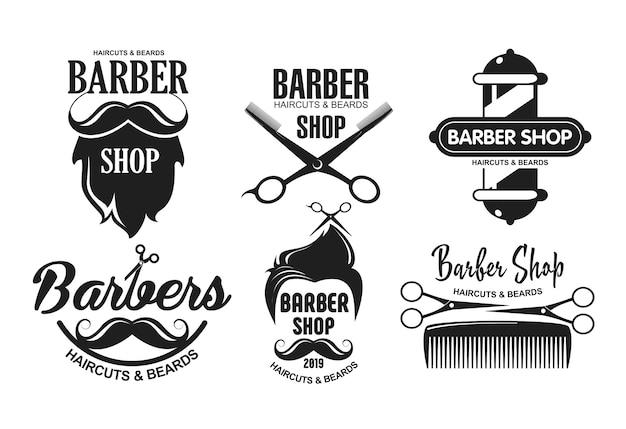 Logotipos de barbearia, emblemas em estilo vintage.