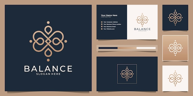 Logotipos de beleza e cartões de visita para salão de beleza, spa e ioga.