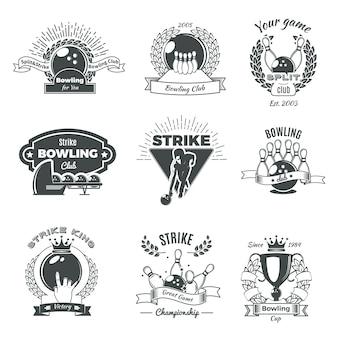 Logotipos de bowling monocromático estilo vintage