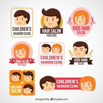 Logotipos de cabeleireiros agradáveis para crianças