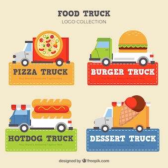 Logotipos de caminhão de alimentos coloridos com design plano