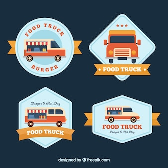 Logótipos de caminhão de alimentos com design plano