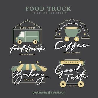 Logotipos de caminhão de alimentos elegante com design plano