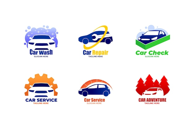 Logotipos de carros de design plano