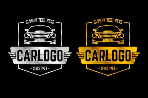 Logotipos de carros metálicos prateados e dourados