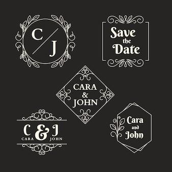 Logotipos de casamento de design elegante