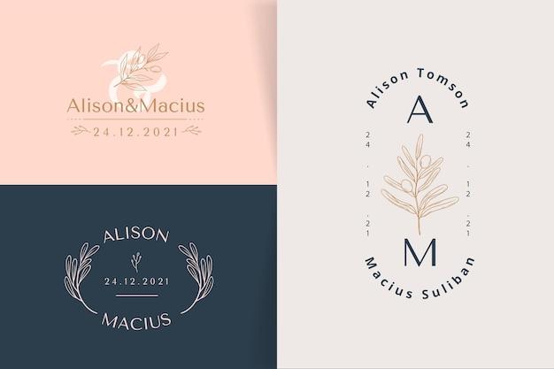 Logotipos de casamento de design plano linear