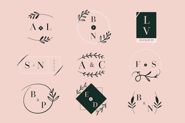 Logotipos de casamento estilo elegante
