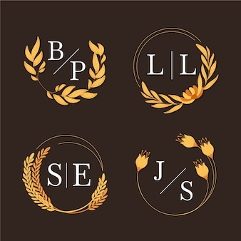 Logotipos de casamento floral lindo