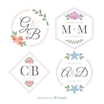 Logotipos de casamento lindo monograma