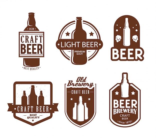 Logotipos de cervejaria e design de emblemas.