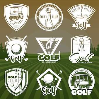 Logotipos de clube de golfe vintage