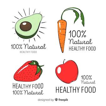 Logotipos de comida saudável de mão desenhada