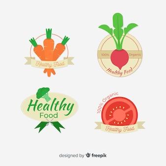 Logotipos de comida saudável plana