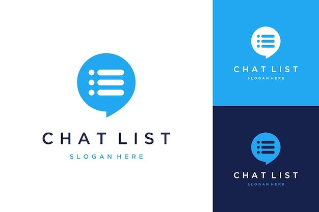Logotipos de design de comunicação ou bolhas de bate-papo com listas