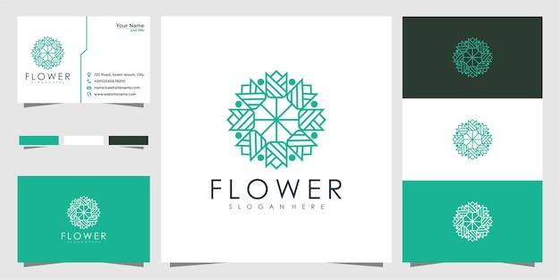 Logotipos de design de flores abstratos, limpos e elegantes
