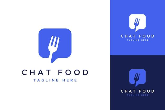 Logotipos de design de tecnologia ou pedir comida ou conversar com garfo