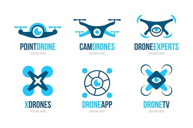 Logotipos de drones de design plano