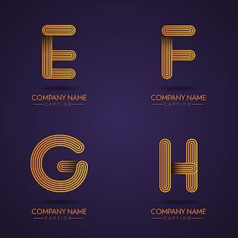 Logotipos de efgh de letra profissional de estilo de impressão digital