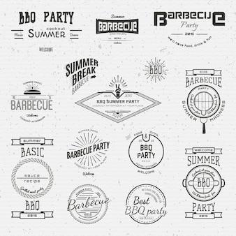 Logotipos de emblemas de churrasco e etiquetas para qualquer uso