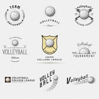 Logotipos de emblemas de voleibol e rótulos podem ser usados para design
