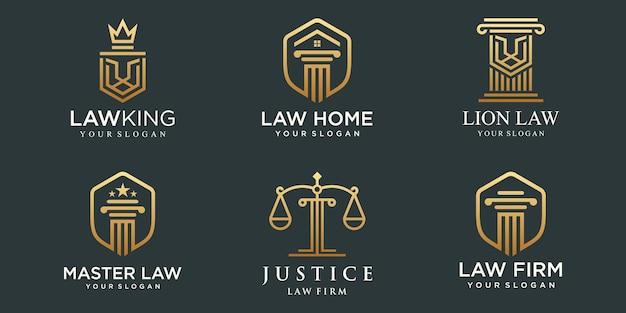 Logotipos de escritório de advocacia definidos com escalas de justiça, ilustrações de pilar vector.