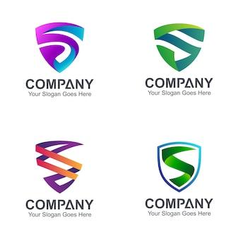 Logotipos de escudo letra s