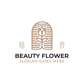 Logotipos de estilo de arte de linha de flor de beleza