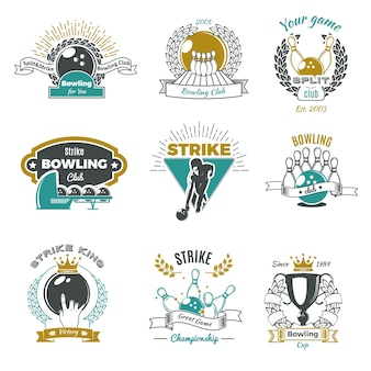 Logotipos de estilo vintage de clubes de boliche