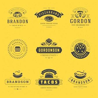 Logotipos de fast food definir ilustração vetorial. bom para emblemas de cardápio de pizzaria, hamburgueria e restaurante, silhuetas de fast food. design de emblemas de tipografia retrô.