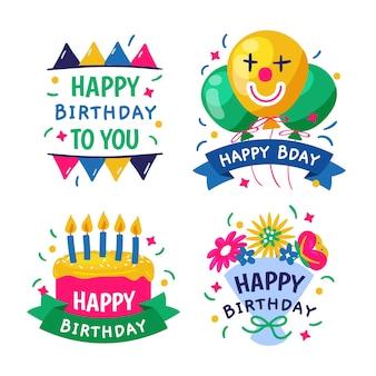 Logotipos de feliz aniversário mão desenhada