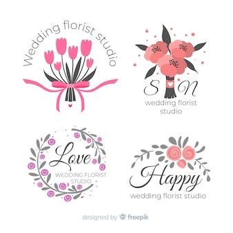 Logotipos de florista de casamento colorido