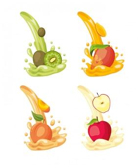 Logotipos de frutas tropicais