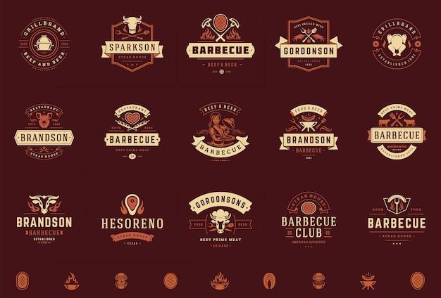 Logotipos de grelhados e churrascos em emblemas de menu de churrascaria ou restaurante