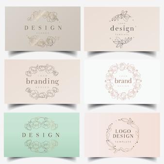 Logotipos de grinalda floral feminino