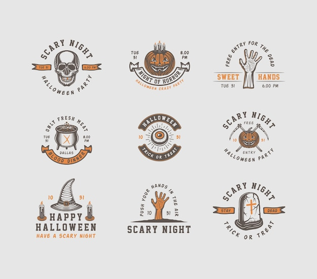 Logotipos de halloween, emblemas