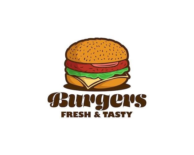 Logotipos de hambúrguer. logotipo de hambúrguer colorido para restaurante ou café. modelo de design de logotipo