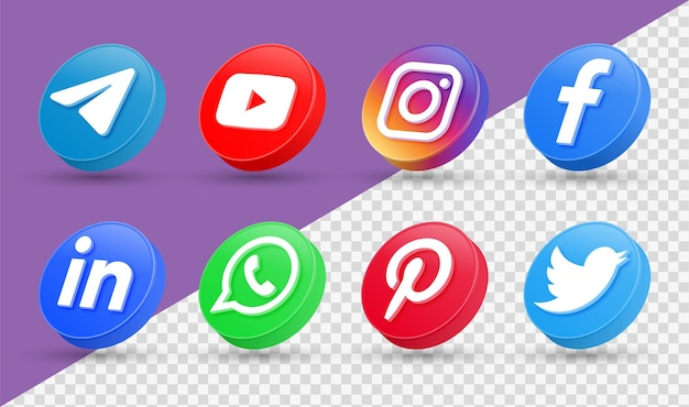 Logotipos de ícones de mídia social 3d em estilo moderno círculo ícone de rede facebook instagram Vetor Premium