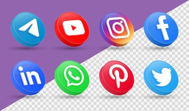 Logotipos de ícones de mídia social 3d em estilo moderno círculo ícone de rede facebook instagram