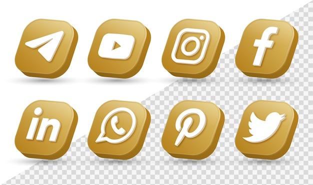 Logotipos de ícones de mídia social 3d em moderno quadrado dourado ícone de logotipo de rede facebook instagram