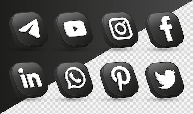 Logotipos de ícones de mídia social 3d em moderno quadrado preto ícone de logotipo de rede facebook instagram