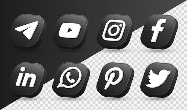 Logotipos de ícones de mídia social 3d em moderno quadrado preto ícone de rede facebook instagram