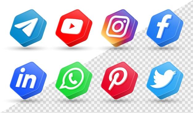 Logotipos de ícones de mídia social 3d em moldura de polígono moderna ícone de rede do facebook instagram