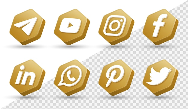 Logotipos de ícones de mídia social 3d em moldura dourada moderna ícone de logotipo de rede do facebook instagram