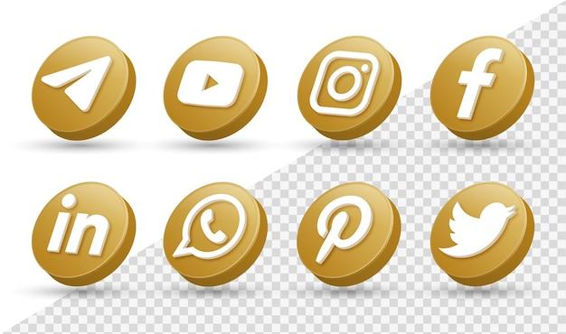 Logotipos de ícones de mídia social 3d no moderno círculo dourado ícone de logotipo de rede do facebook instagram