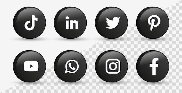 Logotipos de ícones de mídia social em 3d círculo preto moderno ícone do facebook instagram do twitter