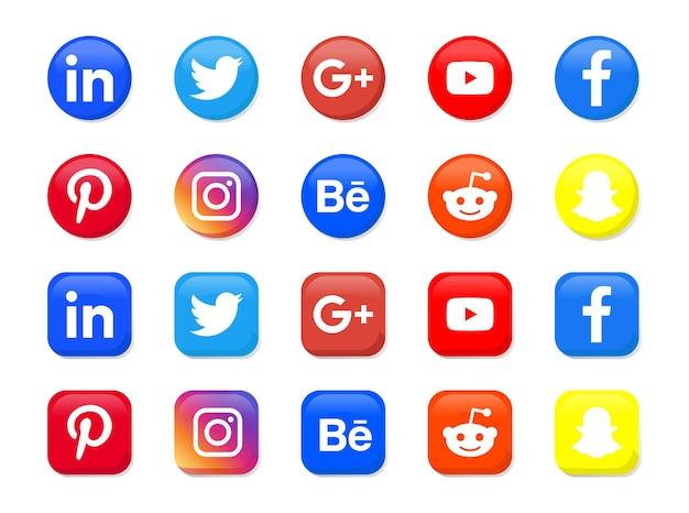 Logotipos de ícones de mídia social em botões redondos modernos