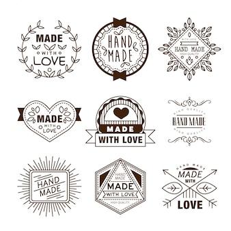 Logotipos de insígnias de design retrô. elementos do vetor vintage.
