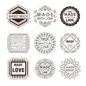 Logotipos de insígnias de design retrô, feitos à mão