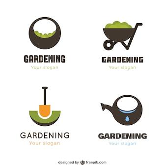 Logotipos de jardinagem geométricas